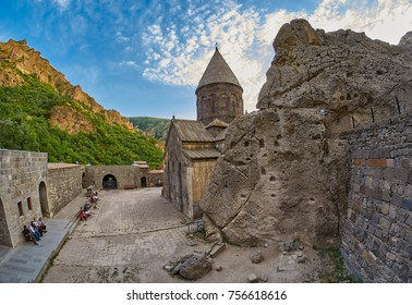 GEGHARD MONASTERY, ARMENIA - AUGUST 04, 2017: Geghard Monastery Mystic Exterior - touristic landmark