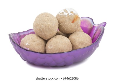 Gehu Ke Laddu Indian Traditional Sweet Food Also Know as Wheat Laddu, Laddoos, laddoo, ladoo, laddo Are Ball-Shaped Sweets Popular in The Indian Festivals. isolated on White Background