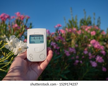Geiger counter, a dosimeter in the hand measuring the radiation background of the surrounding space in the open air. Summer, resort, blue sky, shrub with large flowers.