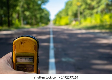 Geiger counter dosimeter measuring radiation in the Chernobyl exclusion zone