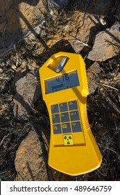 Geiger Counter Measuring Radioactive Uranium Mine Waste on Goldfields of South Africa