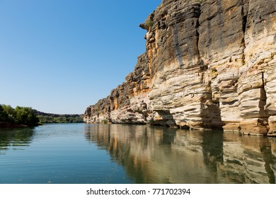 Geikie Gorge has been carved by the Fitzroy River through part of an ancient limestone barrier reef which snakes across the west Kimberley.