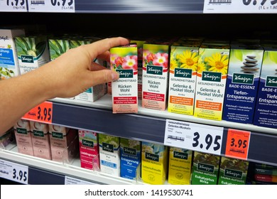 GEILENKIRCHEN, GERMANY - AUGUST 3, 2018: Kneipp naturopathic products in a Kaufland supermarket, Kneipp GmbH is a German manufacturer of naturopathic products owned by Hartmann Gruppe.