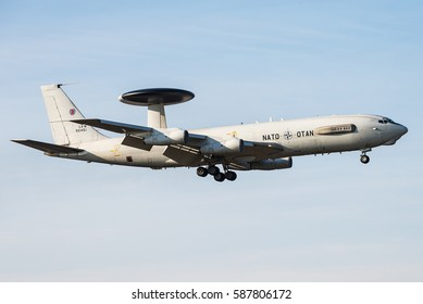 GEILENKIRCHEN, GERMANY - MARCH 14, 2016: NATO Boeing E-3 Sentry radar plane taking off from the Geilenkirchen Air Base, Germany.