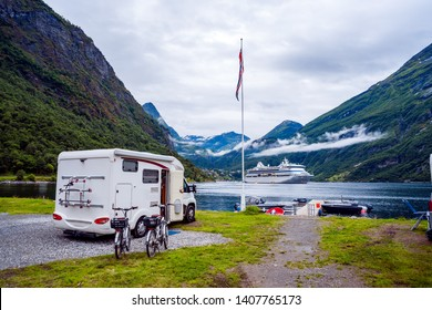 Geiranger fjord, Beautiful Nature Norway. Family vacation travel RV, holiday trip in motorhome, Caravan car Vacation. Geiranger Fjord, a UNESCO World Heritage Site