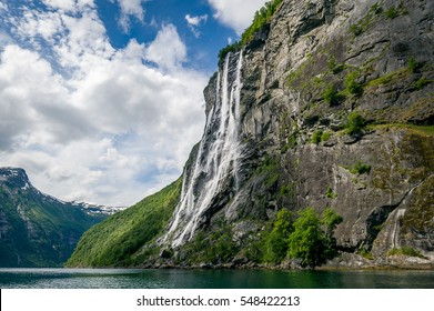 Geiranger fjord famous waterfalls, accessible only from water. Popular kayak trip destination. Geirangerfjord, Norway.