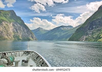 Geiranger Fjord Landscape Norway on Hurtigruten