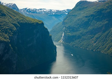 Geiranger fjord from mountain viewpoint, Geirangerfjord, Norway
