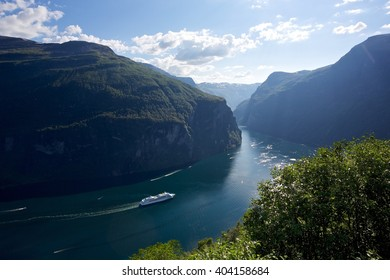 The Geiranger Fjord is a fjord in Norway. It is a 15-kilometre long branch off of the Sunnylvsfjorden. The small village of Geiranger is located at the end of the fjord.