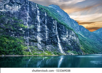 Geiranger fjord, Norway: landscape waterfalls Seven Sisters.