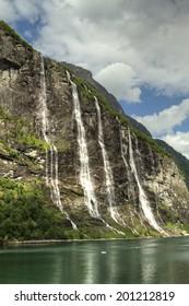 Geiranger fjord, Norway - waterfalls Seven Sisters.