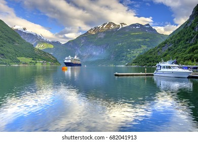 Geiranger Fjord Reflection in the Morning, The West Norwegian Fjords, Norway