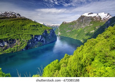 Geiranger Fjord seen from Eagle Bend, The West Norwegian Fjords, Norway