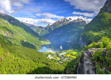 Geiranger Fjord seen from Flydalsjuvet Viewpoint, The West Norwegian Fjords, Norway