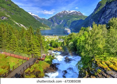 Geiranger Fjord seen from Fossevanding Waterfall, The West Norwegian Fjords, Norway