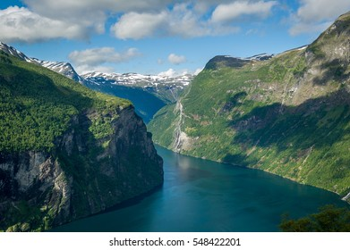 Geiranger fjord view from Road Of The Eagles mountain serpentine. Scenic Norway nature landscape.