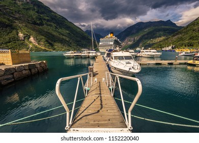 Geiranger - July 30, 2018: Harbor in the UNESCO town of Geiranger, Norway