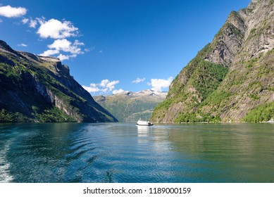 Geiranger, Norway - August 13, 2018 - Cruise ships at Geiranger in Norway
