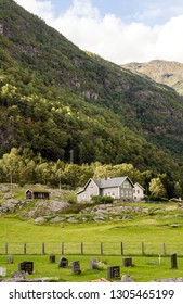 Geiranger, Norway-September 2016. Ancient pagan wood churches in Kaupanger. Kaupanger is a town in the province of Sogn og Fjordane in the region of Vestlandet, Norway