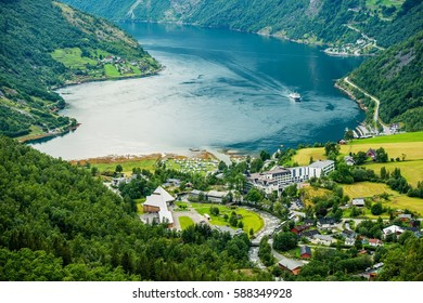 Geiranger Summer Time Panorama, Norway. Geiranger is a Small Tourist Village in Sunnmore Region of More og Romsdal County in the Norway.