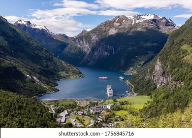 Geirangerfjord. Beautiful landscape of montains and fjord in Norway