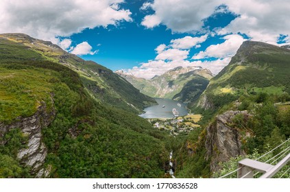 Geirangerfjord, Norway. Aerial View Of Geiranger In Geirangerfjorden In Summer Day. Famous Norwegian Landmark And Popular Destination