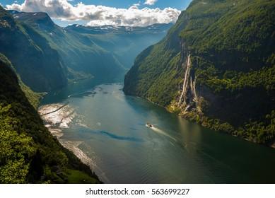 Geirangerfjord from Skagefla farm on a beautiful blue sky day