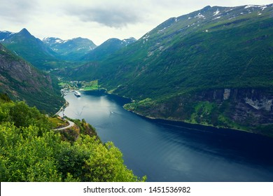 The Geirangerfjord in Sunnmore region, Norway, one of the most beautiful fjords in the world, included on the UNESCO World Heritage. View from above.