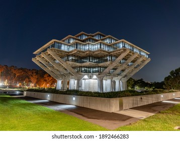 Geisel Library in UCSD at Night, aka Dr. Seuss Library - Shutterstock ID 1892466283