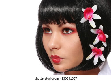 928113b27 geisha fashion makeup, beautiful girl with red flowers in her hair isolated  on white