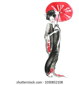 Geisha, women in traditional clothing. Chinese style, Watercolor hand painting illustration