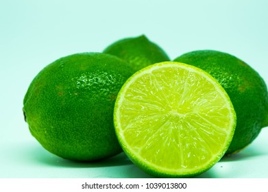 Geislingen, Baden-Wuerttemberg/Deutschland - 05 03 2018: Fresh lime in front of white background