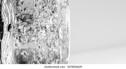 gel, droplets on a light background