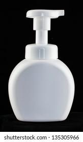 Gel, Foam Or Liquid Soap Dispenser Pump Plastic Bottle White,Isolated on a black