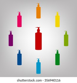 Gel, Foam Or Liquid Soap Dispenser Pump Plastic Bottle silhuette sign. Icons colorful set