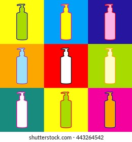 Gel, Foam Or Liquid Soap Dispenser Pump Plastic Bottle silhouette. Pop-art style colorful icons set with 3 colors.
