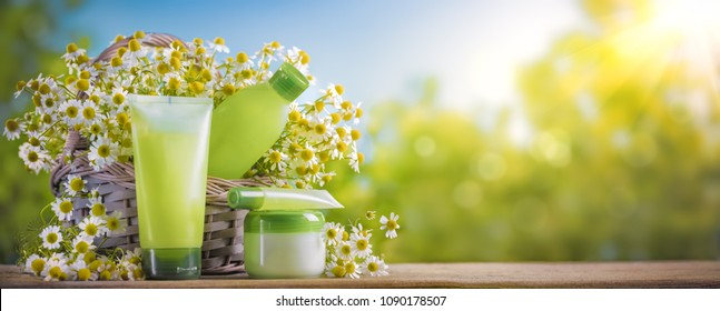 Gel for washing and tonic with chamomile extract in bottle and chamomile flowers
