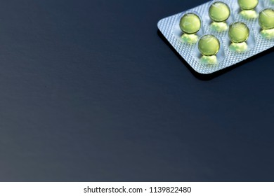 Gelatin capsules with copy space. Pills