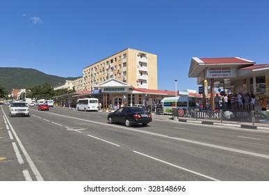 Gelendzhik, Krasnodar region, Russia - 19 July 2015: Kirova Street in the city of Gelendzhik resort. Cassa ticket sales for the cable car