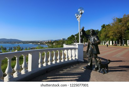 Gelendzhik, Krasnodar Territory, Russia. October 8, 2018. Sculpture to a lighthouse keeper with a dog on Gelendzhik embankment