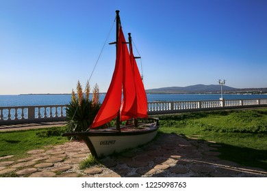 Gelendzhik, Krasnodar Territory, Russia. October 8, 2018. Monument ship with red sails on Gelendzhik embankment