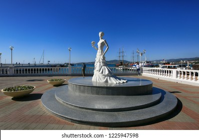 Gelendzhik, Krasnodar Territory, Russia. October 8, 2018. Monument to the White Bride on Gelendzhik Embankment
