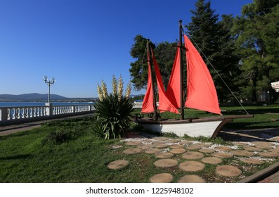 Gelendzhik, Krasnodar Territory, Russia. October 8, 2018. Monument Scarlet Sails on the embankment of Gelendzhik