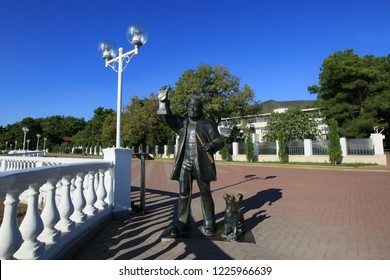 Gelendzhik, Krasnodar Territory, Russia. October 8, 2018. Sculpture to the lighthouse keeper on Gelendzhik embankment