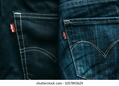 Gelendzhik, Russia, 05 March 2018: Close-up of pockets of denim jeans with LEVI'S label.