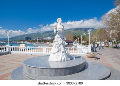 Gelendzhik, Russia - May 7, 2015: Statue White Bride in center of town. It is a symbol of the city.
