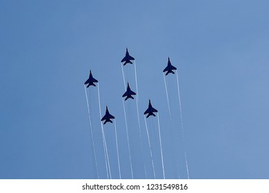 Gelendzhik, Russia - September 5, 2018: An aviation group of six MiG-29 aircraft demonstrate a star figure against the background of a clear blue sky. Strizhy aviation group.