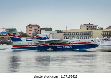Gelendzhik, Russia - September 6, 2018: The multipurpose amphibian aircraft Beriev Be-200ES returns to base after demonstration flights over the Black Sea water area on Hydroaviasalon (Gidroaviasalon)