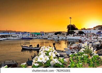 Gelibolu Turkey Canakkale city landscape over the harbor at sunset