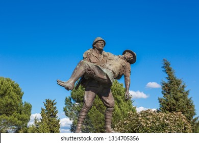 Gelibolu, Çanakkale, Turkey - March 5, 2016: A monument to the Turkish soldier who carried the wounded Australian officer and helped